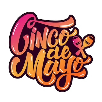 Cinco de mayo. hand drawn lettering phrase  on white background.  element for poster, greeting card.  illustration