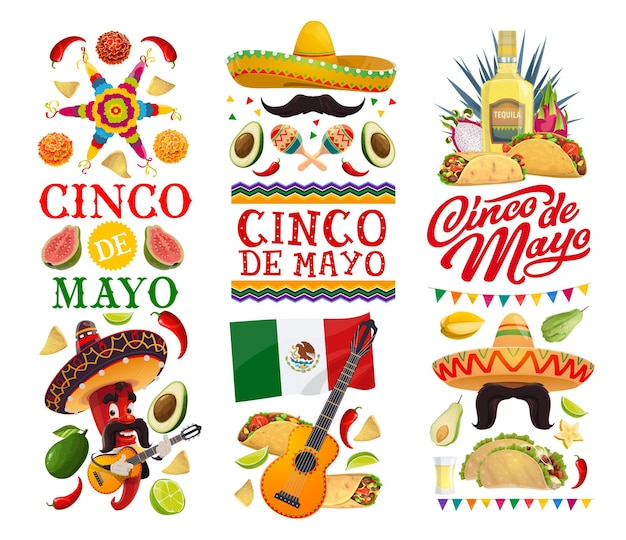 Cinco de mayo holiday banners with mexican fiesta party Premium Vector