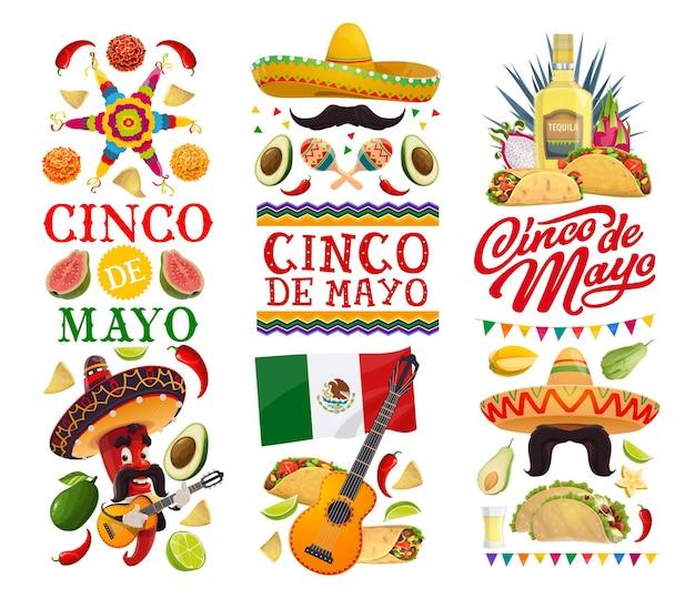 Праздничные баннеры синко де майо с мексиканской вечеринкой фиесты
