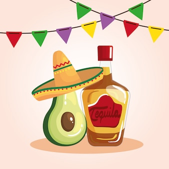 Cinco de mayo illustration with bottle tequila and decoration