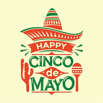 Cinco de mayo illustration with cactus maracas sombrero hat and lettering text