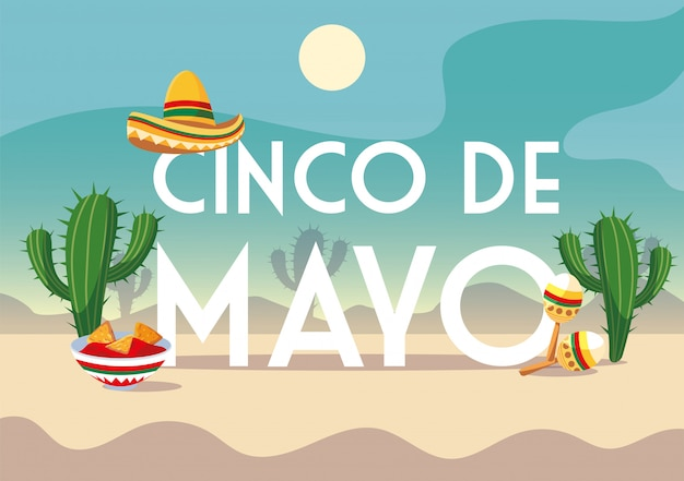 Cinco de mayo label with desert in the background