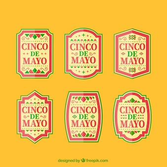 Cinco de mayo labels set