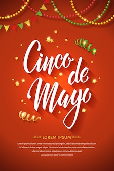 Cinco de mayo letteing poster. greeting card with handwritten calligraphy logo and holiday symbols.