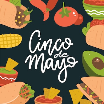 Cinco de mayo lettering banner with mexican food - guacamole, quesadilla, burrito, tacos, nachos, chili con carne and ingredient.  flat illustration on dark background