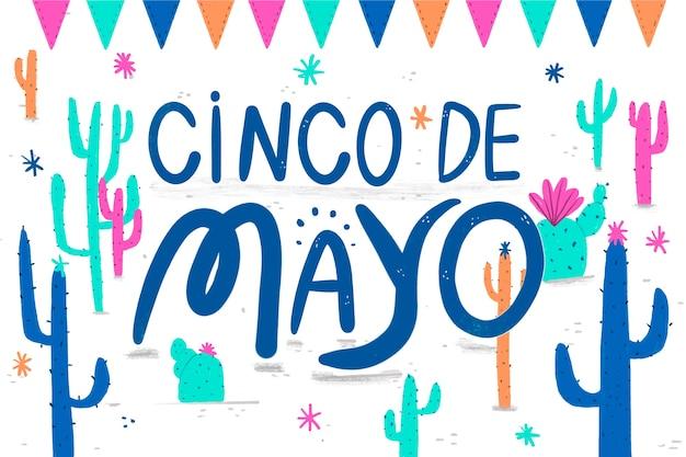 Scritta cinco de mayo con cactus