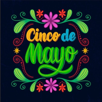 Cinco de mayo lettering with flowers