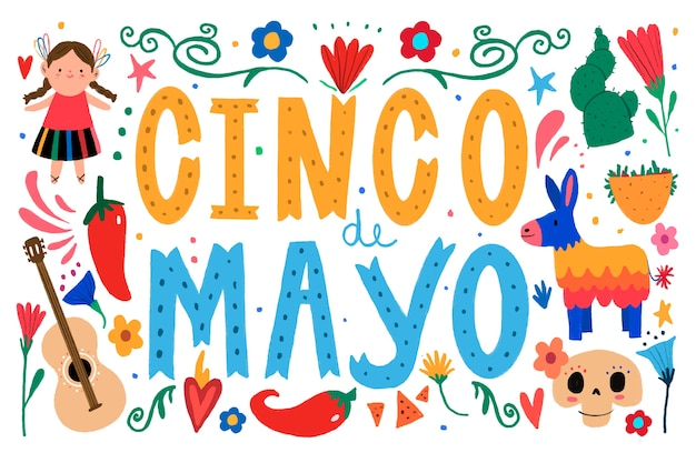 Cinco de mayo lettering with traditional elements