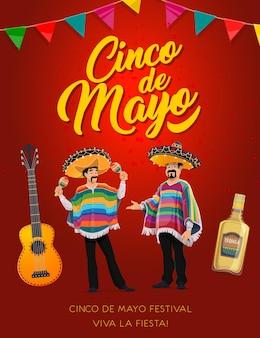 Cinco de mayo mariachi characters of mexican holiday fiesta party Premium Vector