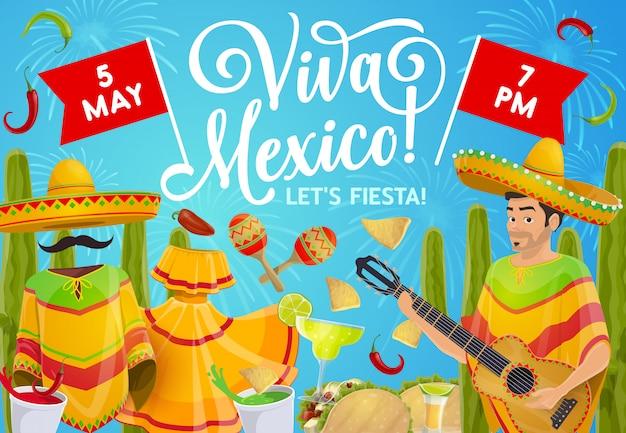 Cinco de mayo mariachi with guitar and sombrero