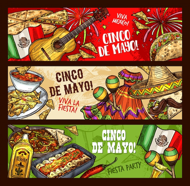 Cinco de mayo mexican fiesta, viva mexico party Premium Vector