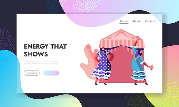 장식 된 요정 텐트 근처에서 축제 기간 동안 춤을 추는 전통 드레스의 cinco de mayo 멕시코 소녀 웹 사이트 방문 페이지 템플릿