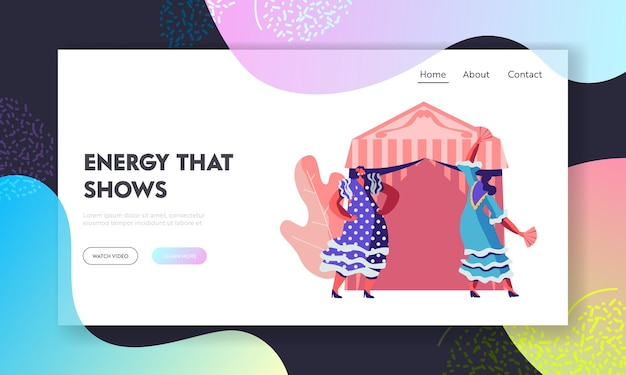 Cinco de mayo mexican girls in traditional dresses dancing during festival near decorated fairy tent.website landing page template
