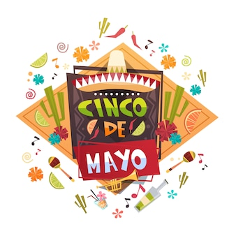 Cinco de mayo mexican holiday greeting card decoration poster design