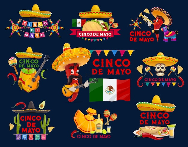 Cinco de mayo mexican holiday icons