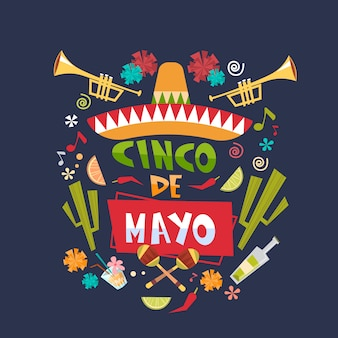 Cinco de mayo mexican holiday lettering