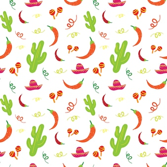 Cinco de mayo mexican holiday seamless pattern with cactus, sombrero, maracas and chili pepper