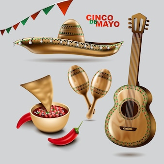 친코 데 마요 멕시코 휴가 솜브레로 모자 마라카스와 타코와 멕시코 그림의 색상으로 축제 음식