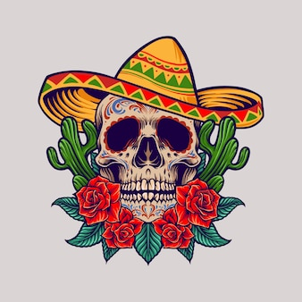 Cinco de mayo mexican skull illustration