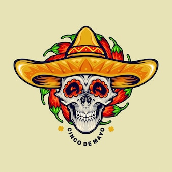 Cinco de mayo mexican skull sombrero illustrations