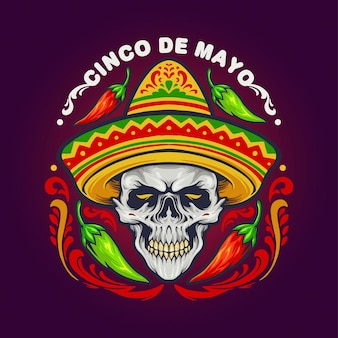Cinco de mayo mexican skull with hat illustrations