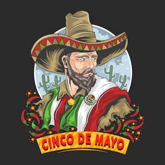 Cinco de mayoメキシコ、メキシコの旗と帽子のアートワーク