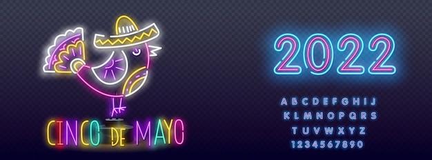 Cinco de mayo neon sign, bright signboard. mexico logo, emblem.   realistic isolated neon sign of cinco de mayo