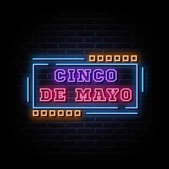 Cinco de mayo 네온 사인 디자인 템플릿 네온 스타일