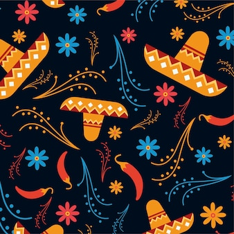 5月5日のシンコデマヨメキシコの連邦祝日のデザインとシームレスなパターン