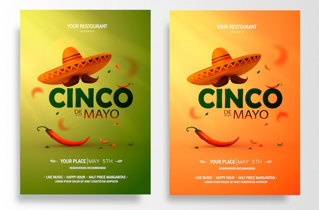 Cinco de mayo poster . marketing, advertising or invitation template with copy space for your holiday celebration at a bar, restaurant, nightclub or others.