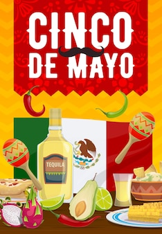 Cinco de mayo poster, traditional mexican food enchiladas