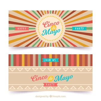 Cinco de mayo retro banners