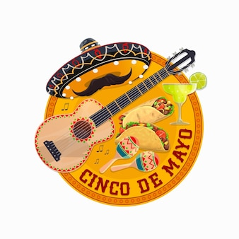Cinco de mayo round banner with traditional mexican sombrero hat