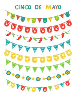 Cinco de mayo set of colored flags and garlands