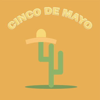 Cinco de mayo sombrero and cactus - festive flat design. for celebration of the mexican holiday on may 5 - vector