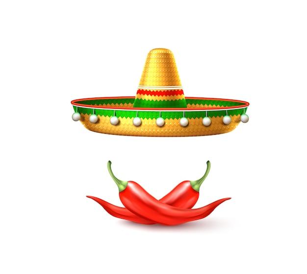 Cinco de mayo 전통적인 멕시코 솜브레로 모자 칠리 페 퍼