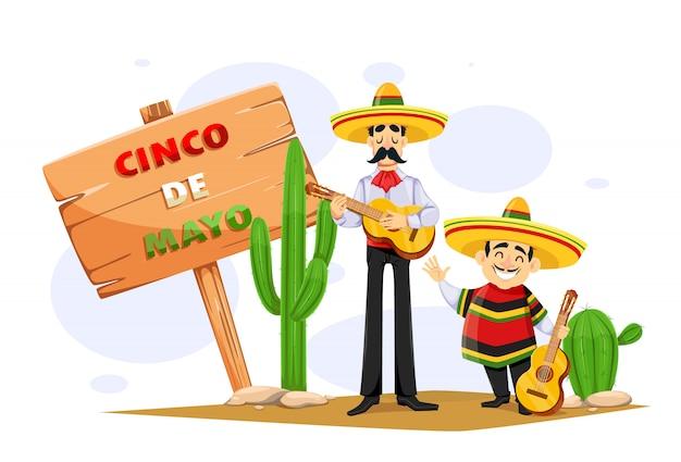 Cinco de mayo. two mexican men in sombrero with guitar Premium Vector