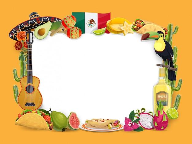 Синко де майо векторной рамки, мексиканский праздник границы