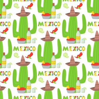Cinco de mayo viva mexico seamless pattern. mexican culture symbols on black background. guitar, sombrero, maracas, cactus and jalapeno in tiled backdrop design.