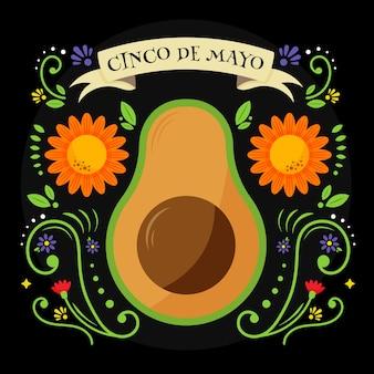 Cinco de mayo with avocado and flowers