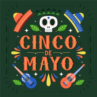 Cinco de mayo with skull and hats