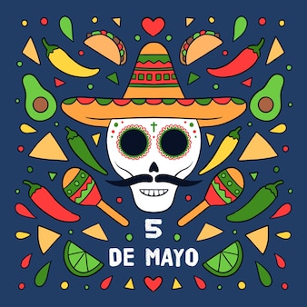 Cinco de mayo with skull