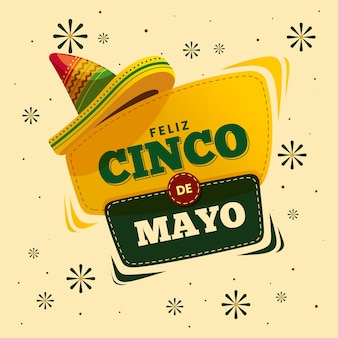 Cinco de mayo with spanish greeting and hat