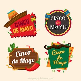 Плоская коллекция цветных этикеток для cinco de mayo