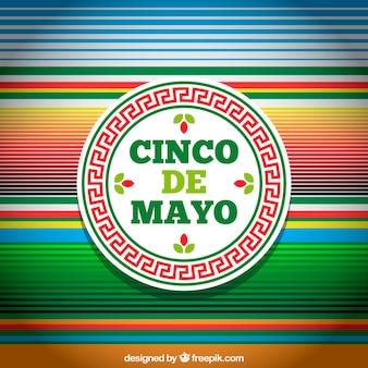 複数の色のストライプを持つcinco de mayoの背景