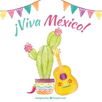 Акварель cinco de mayo фон с кактусом и гитарой