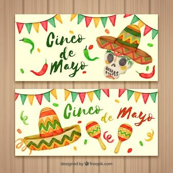 Набор баннеров cinco de mayo с традиционными элементами