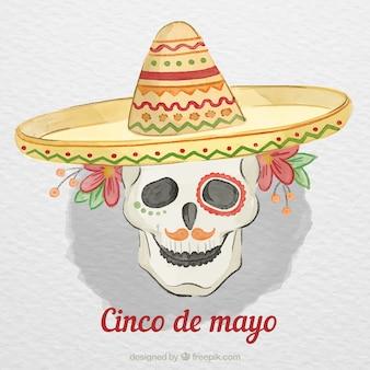 Cinco de mayo фон с черепом в акварельном стиле