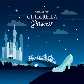 Cinderella glass shoe illustration