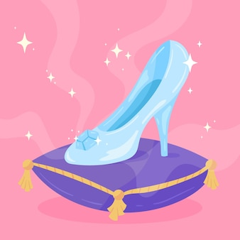 Cinderella glass shoe and pillow
